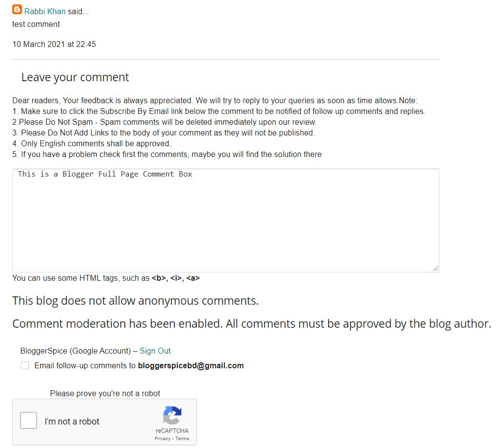 Full page blogger comment box