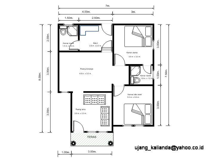 gambar denah rumah tingkat 4