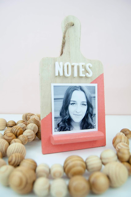 Spray painted mini wooden easel message board/note-taking station from www.jengallacher.com #spraypaint #easel #timholtz #jengallacher