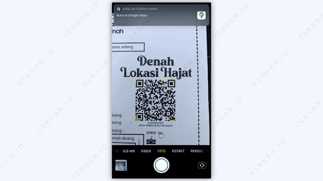 scan qr maps dari kamera iphone