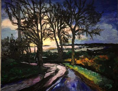 peinture de Karine Babel, coucher de soleil à Bourdeilles