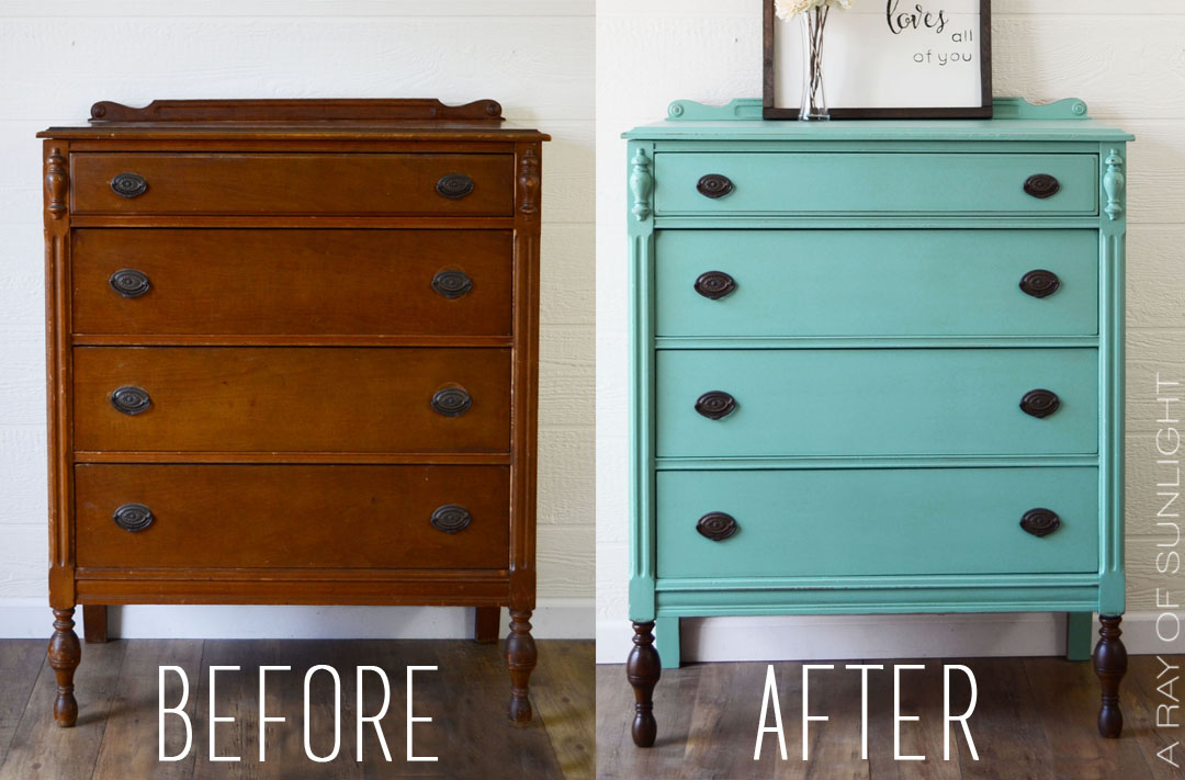 Teal Highboy Dresser With Dark Stained Legs A Ray Of