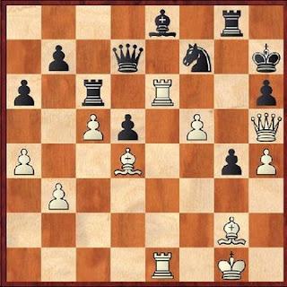 Posición de la partida de ajedrez Ulvestad - Ishida, Seattle, 1937 (mate en 4)