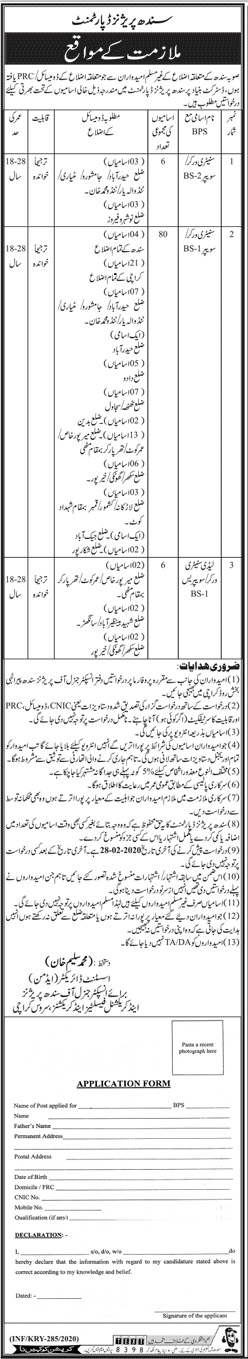 Sindh Prisons Department Jobs February 2020