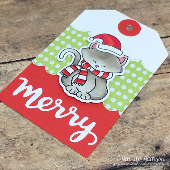 25 Days of Christmas Tags | Tags by Jennifer Jackson | Fancy Edges Tag Die Set, Holiday Greetings Die Set and Newton's Holiday Mischief Stamp Set by Newton's Nook Designs #newtonsnook #handmade