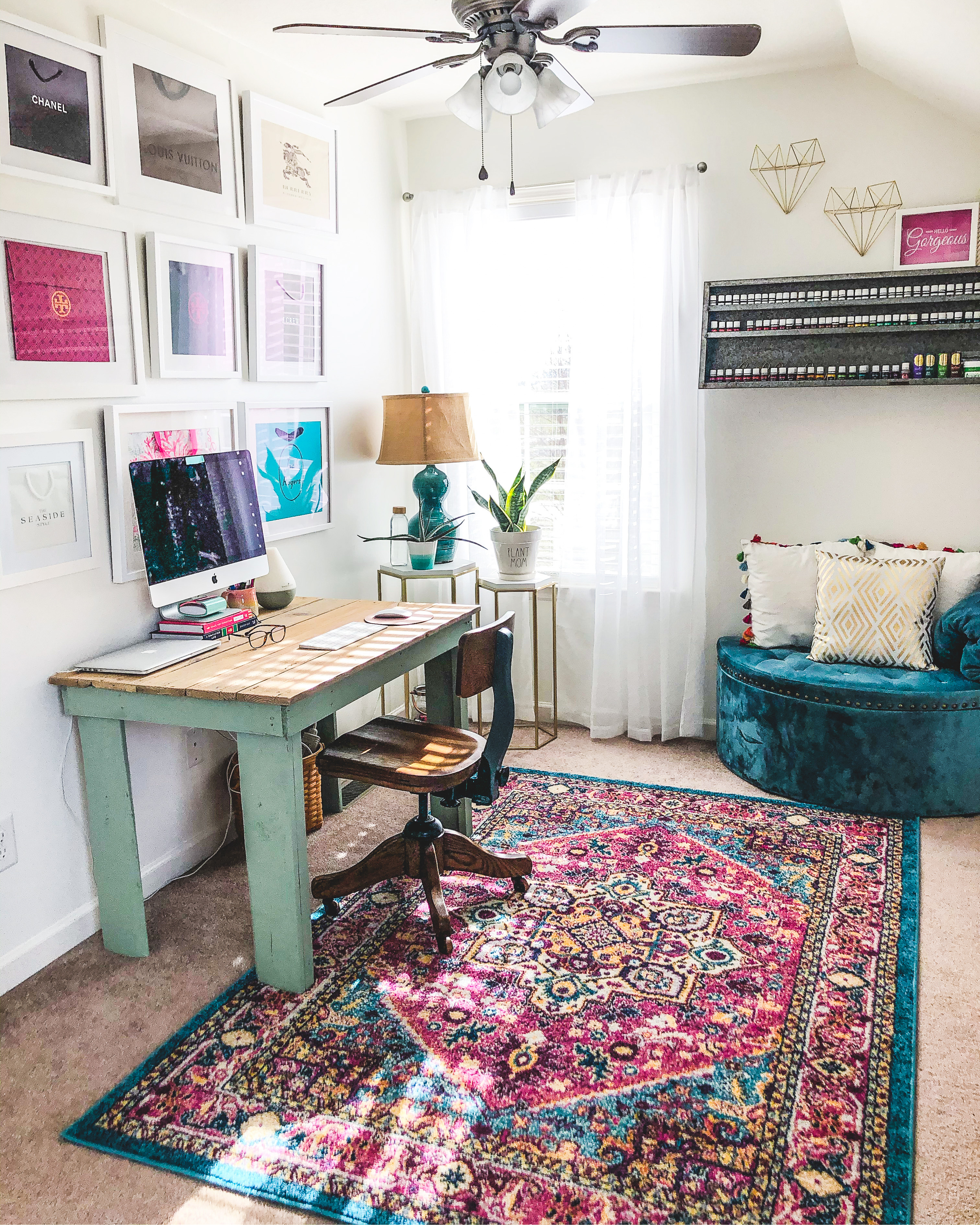 Shaw Avenue Blog by Jenn Pennell. Lifestyle, affordable fashion, family of 5 travel, Young Living Essential Oils, Longaberger Baskets, Dresden & Company. Colorful home office renovation