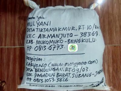 Benih padi yang dibeli   MULYANI Mukomuko, Bengkulu..  (Setelah packing karung).