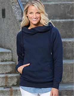 Enza 32979 - Ladies Classic Fleece Funnel Neck Pullover Hood from NYFifth