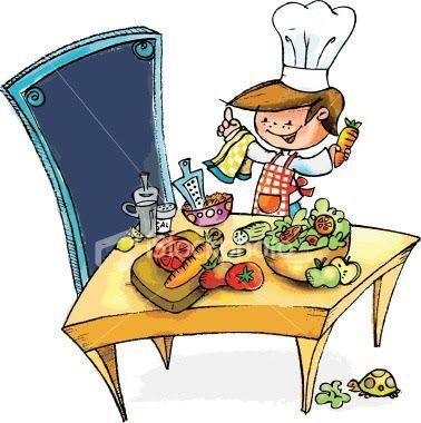 Aromas en tu cocina. Caricatura de cocinero, con mesa, implementos para cocinar e ingredientes