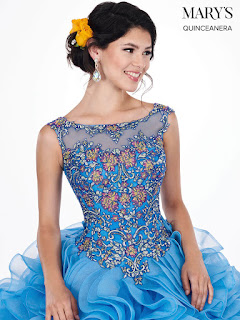 Periwinkle Multi Color Ball Gown Dress front Design