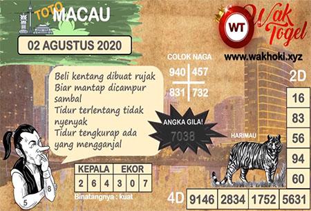 Prediksi Wak Togel Toto Macau Minggu 02 Agustus 2020