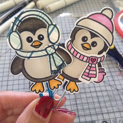 Sunny Studio Stamps: Bundled Up Penguin Planner Paperclip Toppers by Monique.