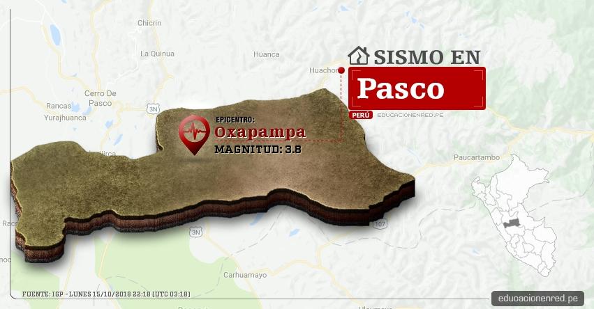 Temblor en Pasco de magnitud 3.8 (Hoy Lunes 15 Octubre 2018) Sismo EPICENTRO Oxapampa - IGP - www.igp.gob.pe