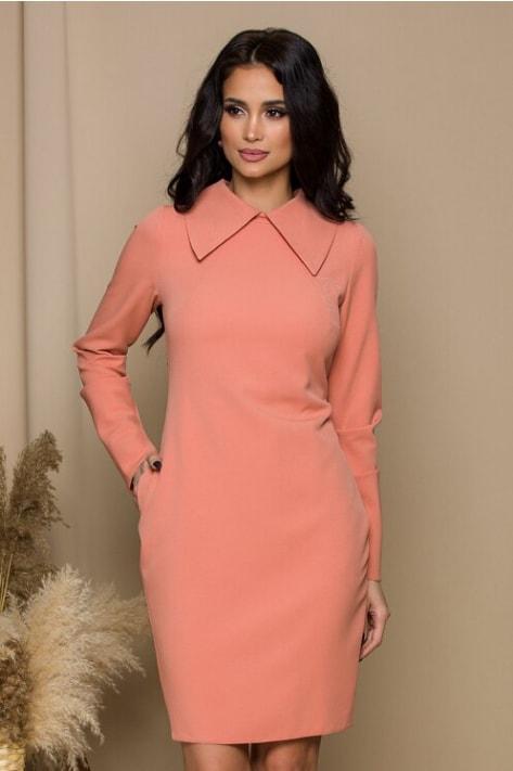 Rochie midi office roz piersica cu guler maxi