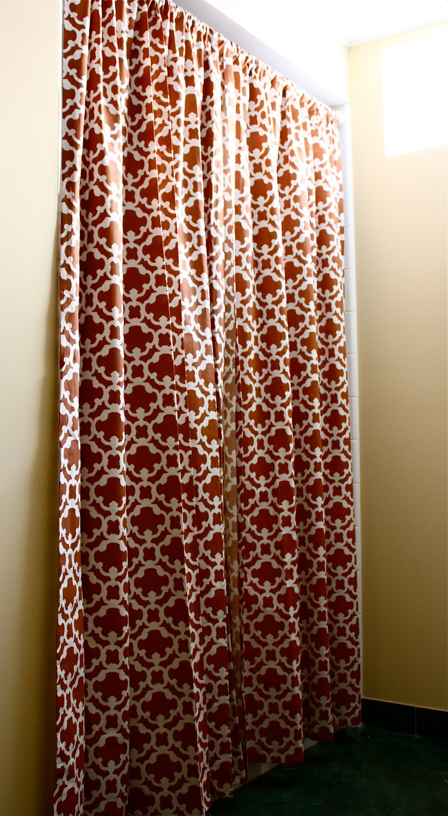 Target curtains orange - The Yellow Cape Cod Makeover Target Style No Sew Custom Shower