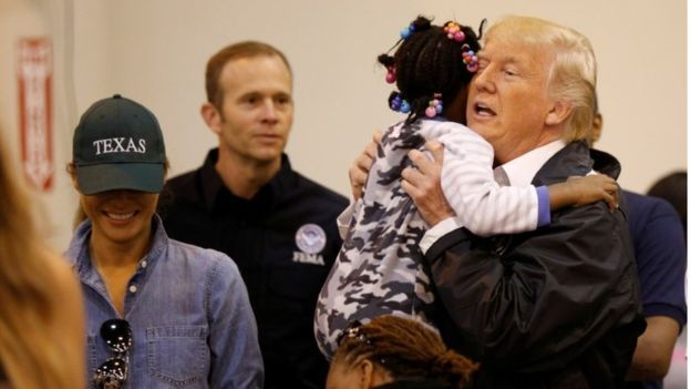 Trump hails hurricane relief efforts as he visits Texas