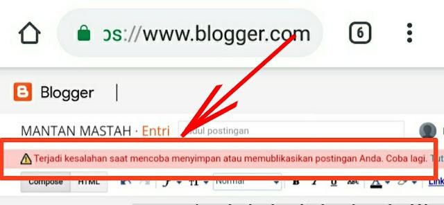 notifikasi terjadi kesalahan saat mencoba memulihkan atau memyimpan artikel blog di entri baru