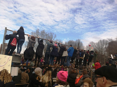 Boston Common was filled to capacity for the Boston Women's March Attendees climbed fences to get a better view of the speakers