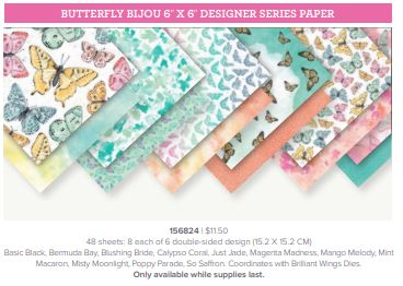 Butterfly  patterned Designer Series Paper called Butterfly Bijou from Stampin' Up!