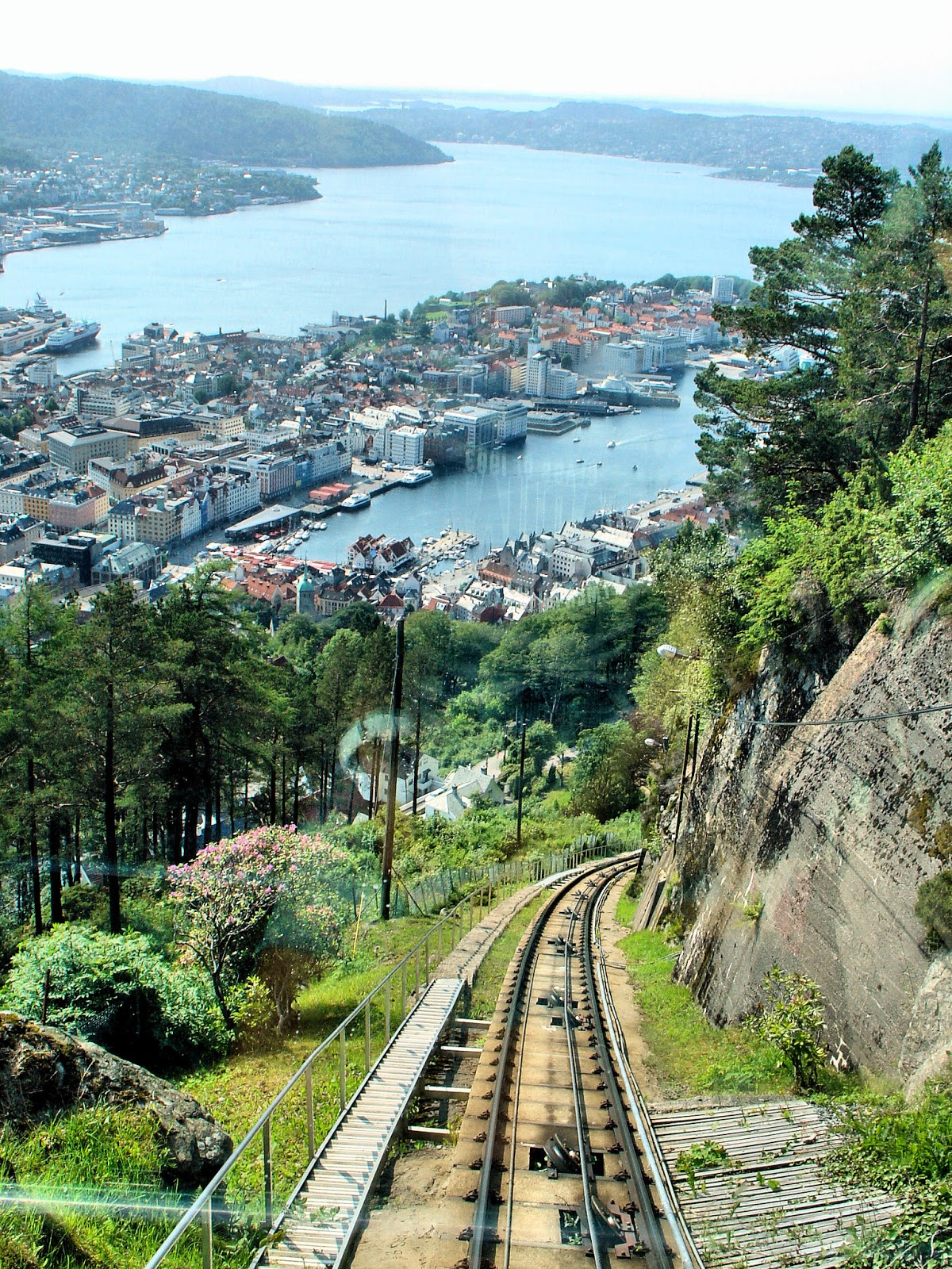 The view of Bergen as we climbed up Mount Fløyen aboard the Fløibanen funicular—a most spectacular ride!