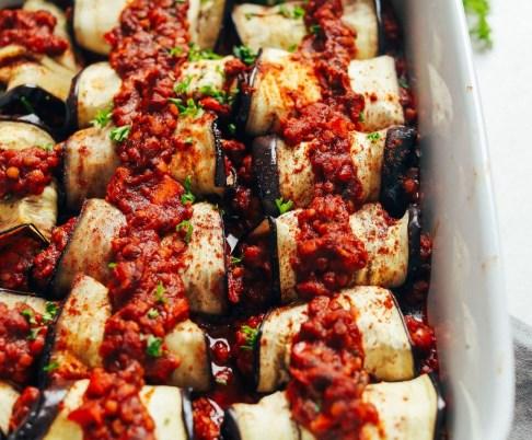 MOROCCAN LENTIL-STUFFED EGGPLANT #vegetarian #perfectside