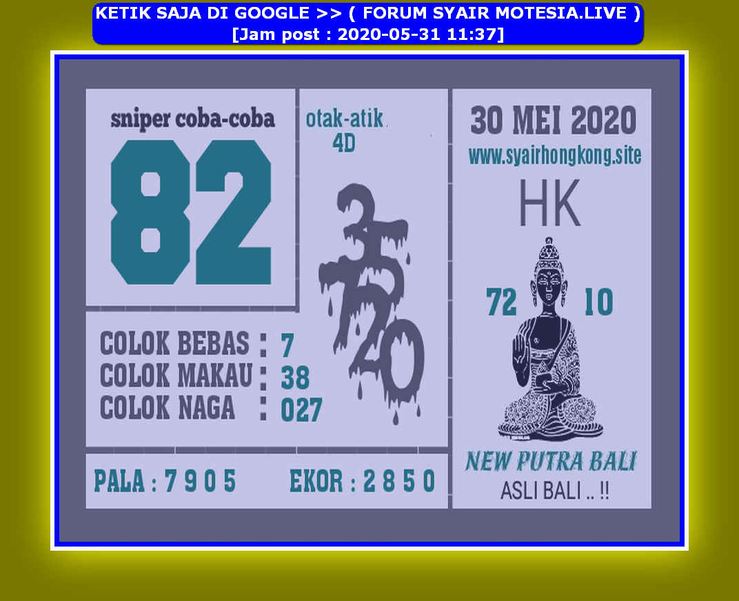 Kode syair Hongkong Minggu 31 Mei 2020 139