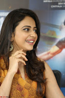 Rakul Preet Singh smiling Beautyin Brown Deep neck Sleeveless Gown at her interview 2.8.17 ~  Exclusive Celebrities Galleries 180.JPG
