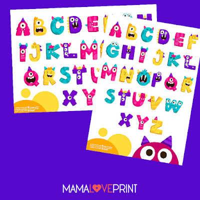 Mama Love Print Printable - A to Z 英文字母怪獸卡通早教海報和字卡 Alphabet with Monsters Posters and Flash Cards Free Download Freebies Printable