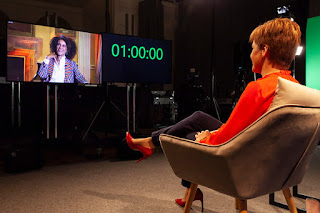 Scottish First Minister Nicola Sturgeon interviewing author Bernadine Evaristo