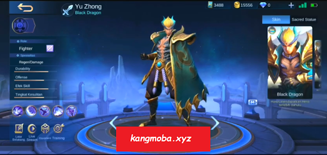Script Skin Yu Zhong Emerald Dragon + No Cooldown Mobile Legends