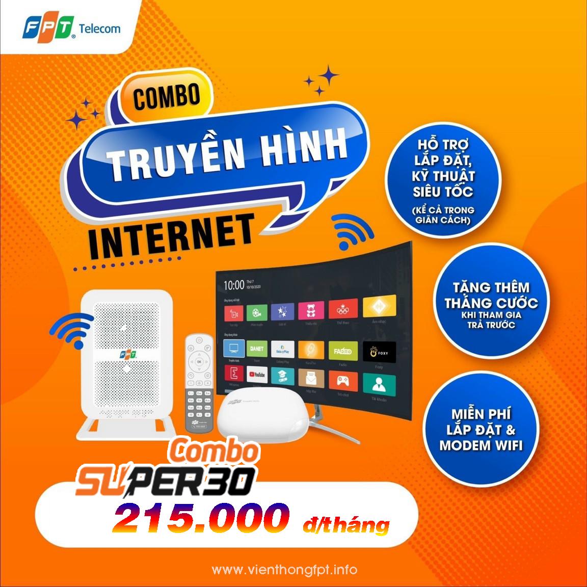 Combo Truyền hình FPT + Internet 30Mbps