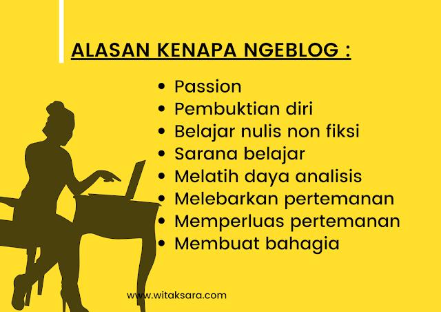 Apa saja alasan atau big why saya ngeblog