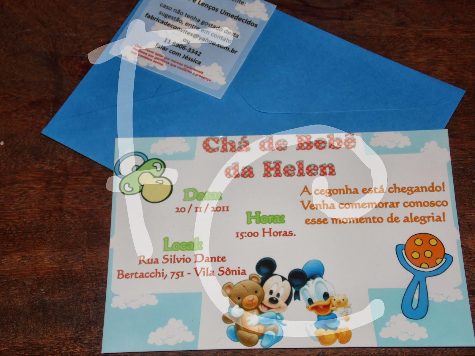 Convite Padrão - Chá de bebê - Baby Disney Enzo