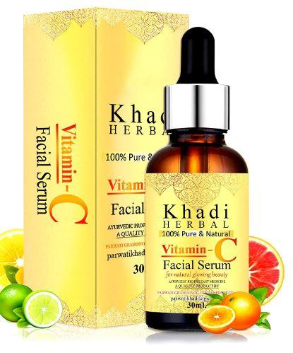 Khadi Herbal Vitamin C Serum For Face, With Hyaluronic Acid for Glowing Skin, De-Pigmentation, Skin Brightening