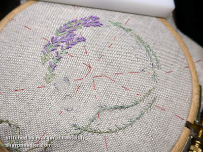 Embroidered lavender with bullion stitches for Lorna Bateman's Lavender and Bees Pincushion