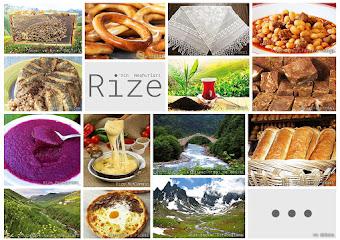 Rize'nin meşhur şeylerini gösteren resimlerden oluşan kolaj