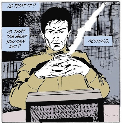 """Grant Morrison from Animal Man #26: Grant Morrison at his computer saying, """"Is that it? Is that the best you can do? Nothing?"""""""