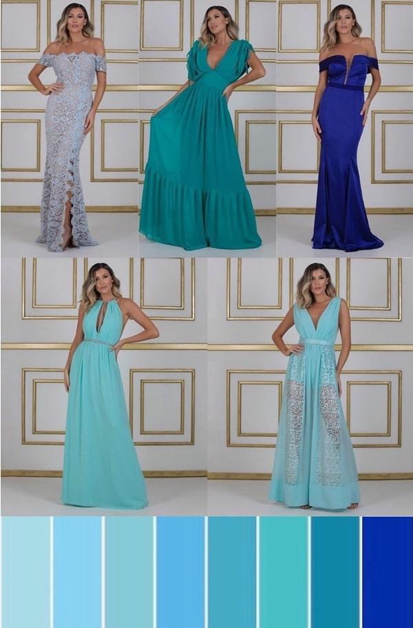 paleta tons de azul para vestido madrinha de casamento