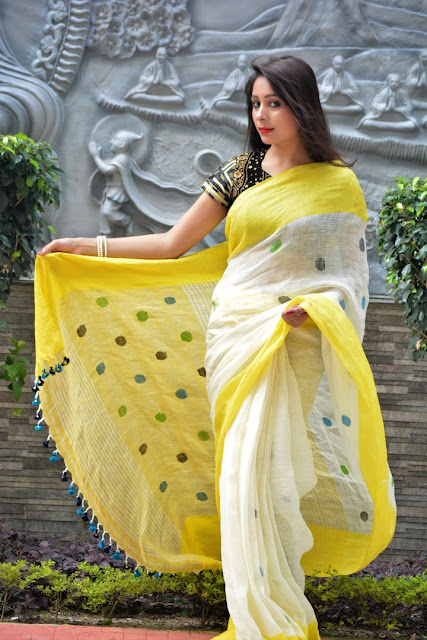 Shopping, Style and Us: India's Best Shopping and Self-Help Blog -Linen Silk Sarees are best for an office-wardrobe.