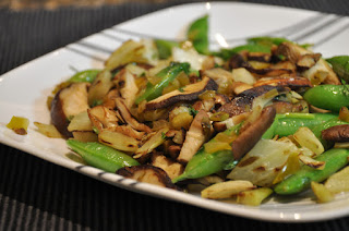 Snap Peas with Shiitake Mushrooms and Fennel