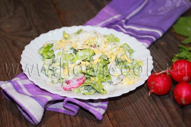 рецепт салата весенний с редисом и огурцами