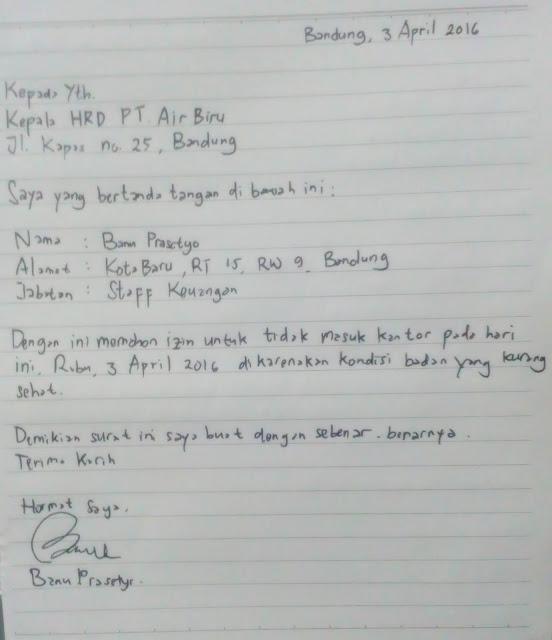 Contoh Surat Izin Sakit Tulisan Tangan (via: mamikos.com)
