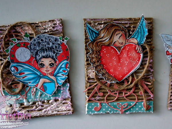 """Love"" Artist Trading Cards, with three different images by Fairy Ink."