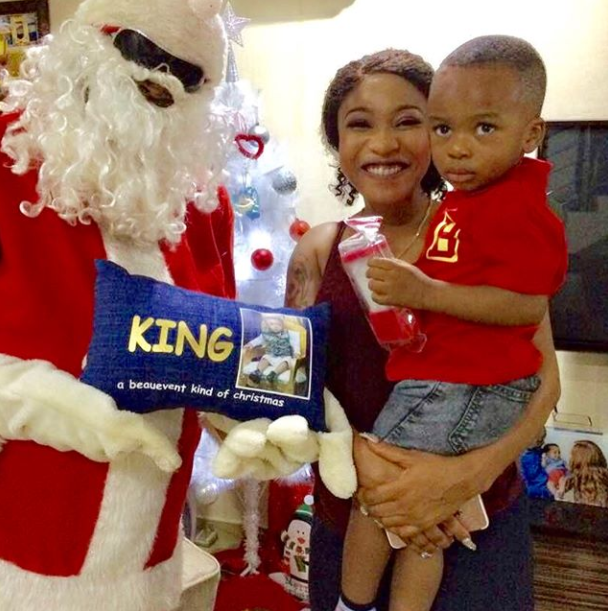Santa Clause Visits Tonto Dikeh And Her Son Who Looked Scared