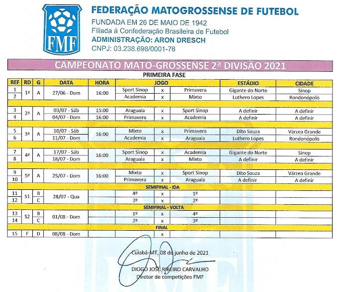FMF atualiza tabela da 2ª Divisão. Academia x Mixto e Sport x Primavera abrem a competição no dia 27
