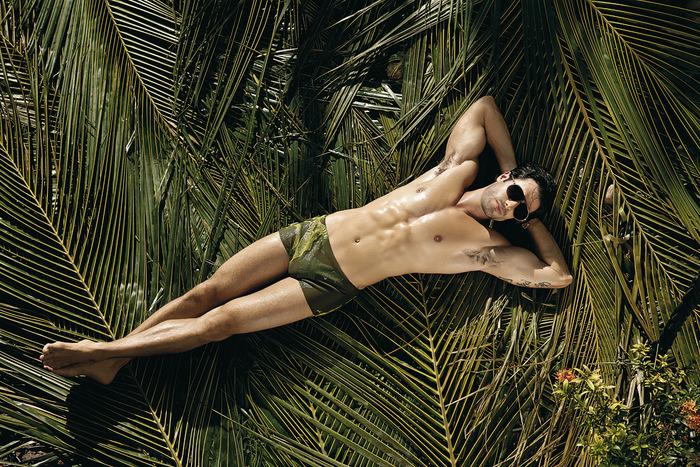 Deitado em folhas de coqueiro, Dan Wainer posa de sunga para campanha de moda praia