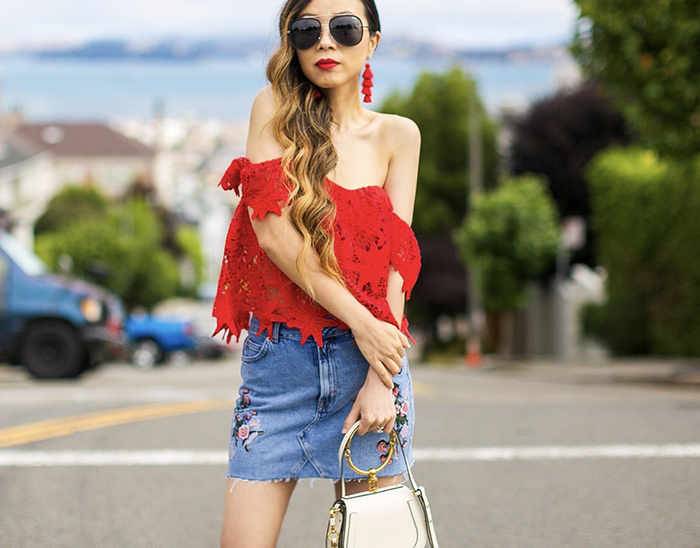 Nordstrom anniversary sale 2017, nordstrom anniversary sale, summer outfits, summer fashion, san francisco fashion blog, san francisco street style, off shoulder red lace top, floral denim skirt, chloe nile bag