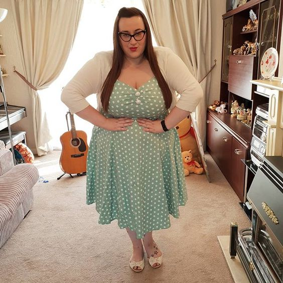 Collectif Green Polka Dot Dolores Dress