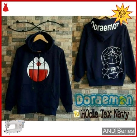 AND051 Sweater Wanita Doraemon Hoodie Text Biru BMGShop