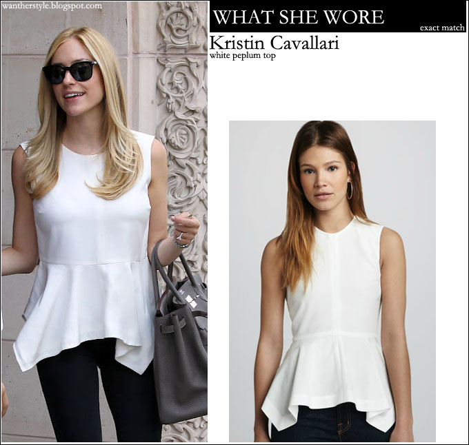 34ff5a2d777b WHO: Kristin Cavallari at the Jose Eber salon in Beverly Hills on September  26, 2012. WHAT SHE WORE: white peplum Elizabeth and James top, black skinny  ...